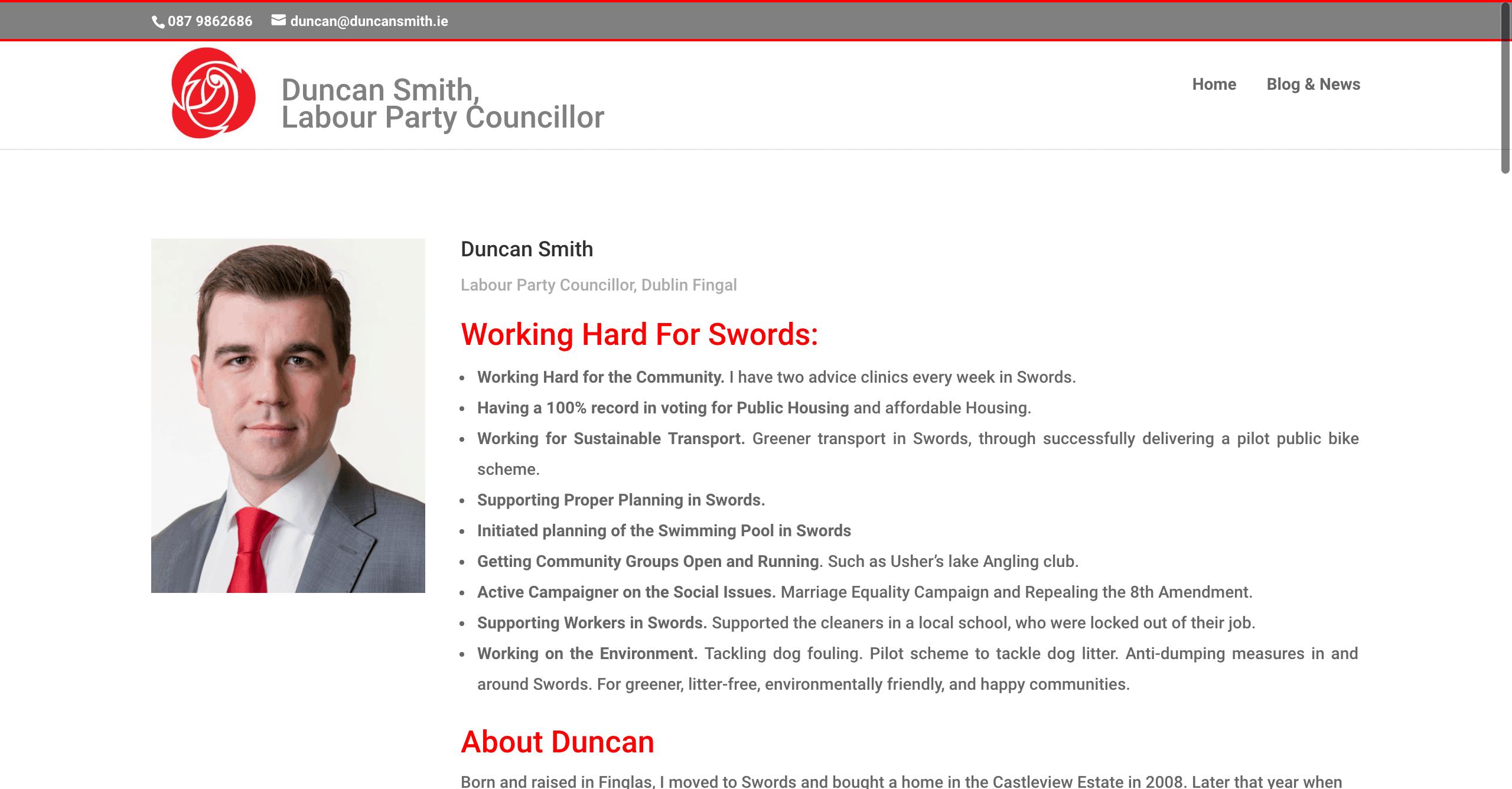 Duncan Smith, Labour Councillor Web Design