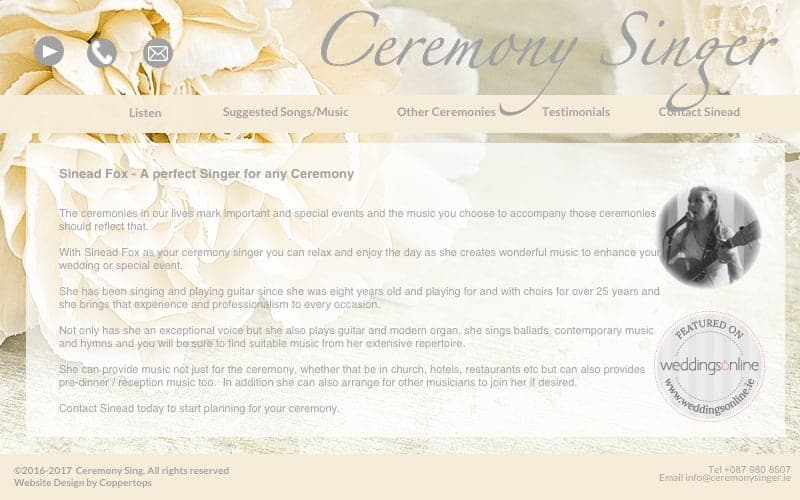 Ceremony Singer Web Design
