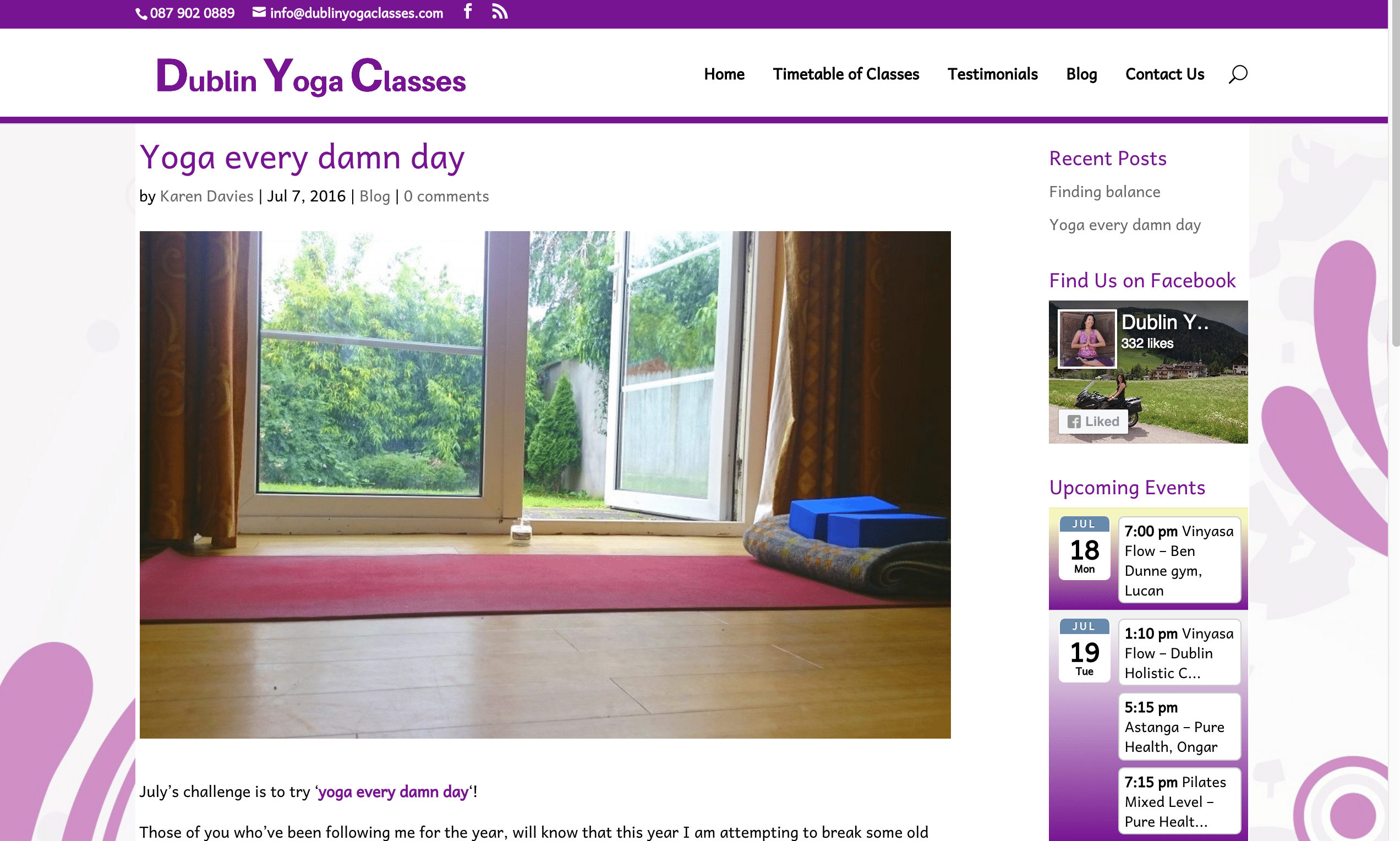 Dublin Yoga Classes Web Design