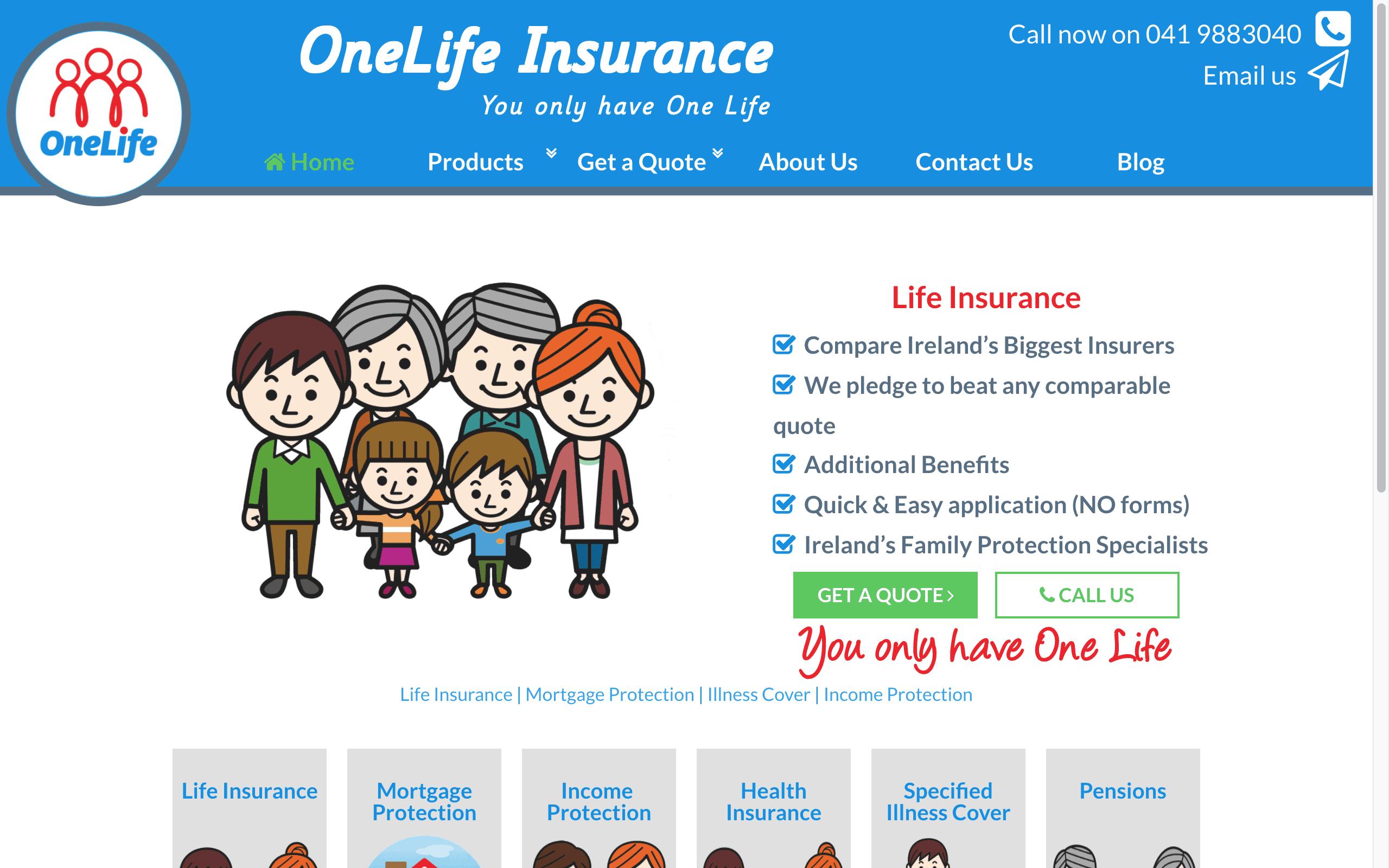 One Life Insure Web Design