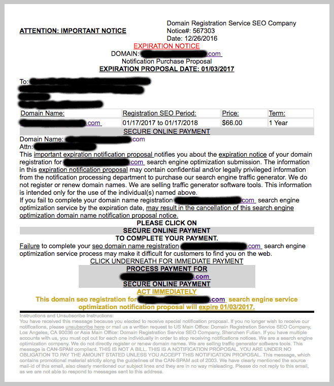 scam email domain seo