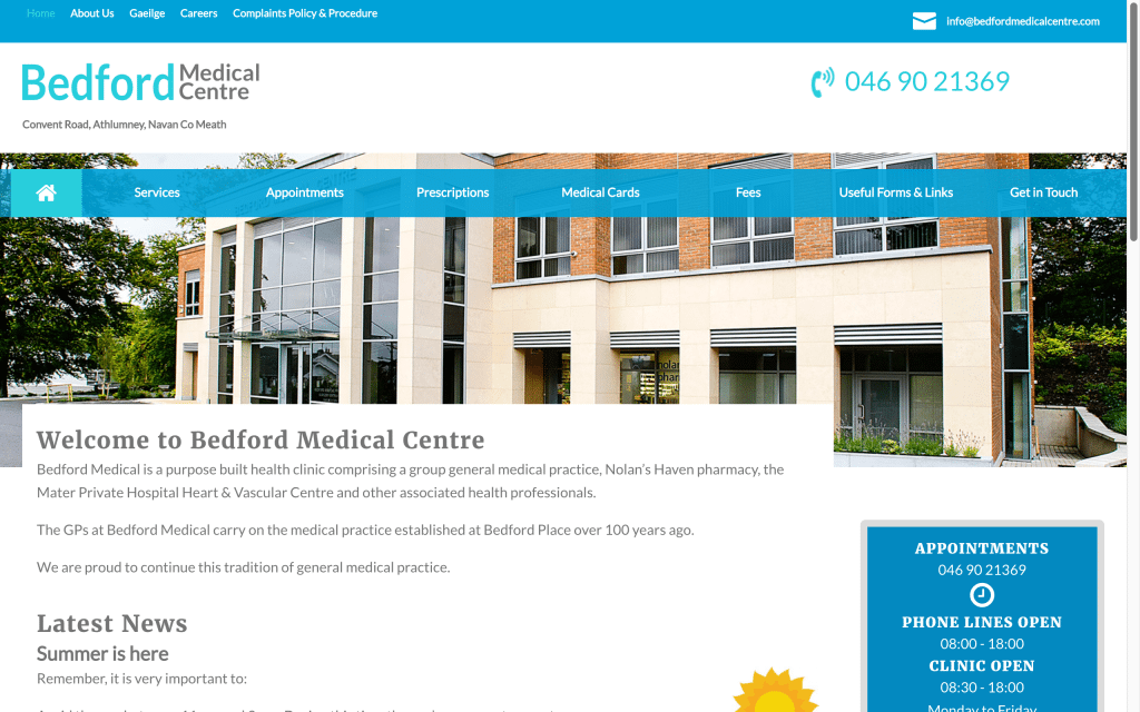 Bedford Medical Centre Web Design