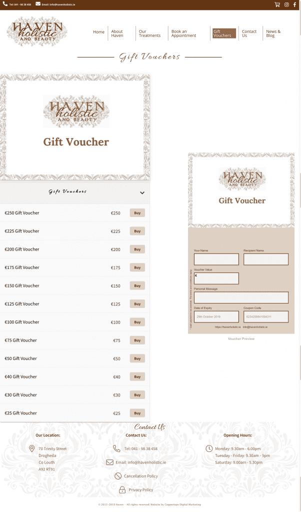 haven holistic and beauty voucher design