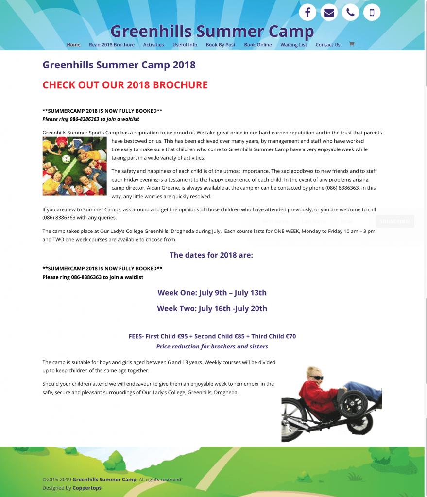Greenhills Summer Camp Web Design