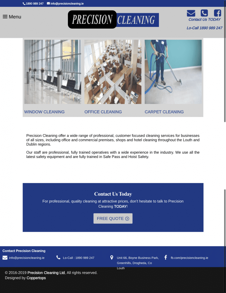 Precision Cleaning Ltd Web Design