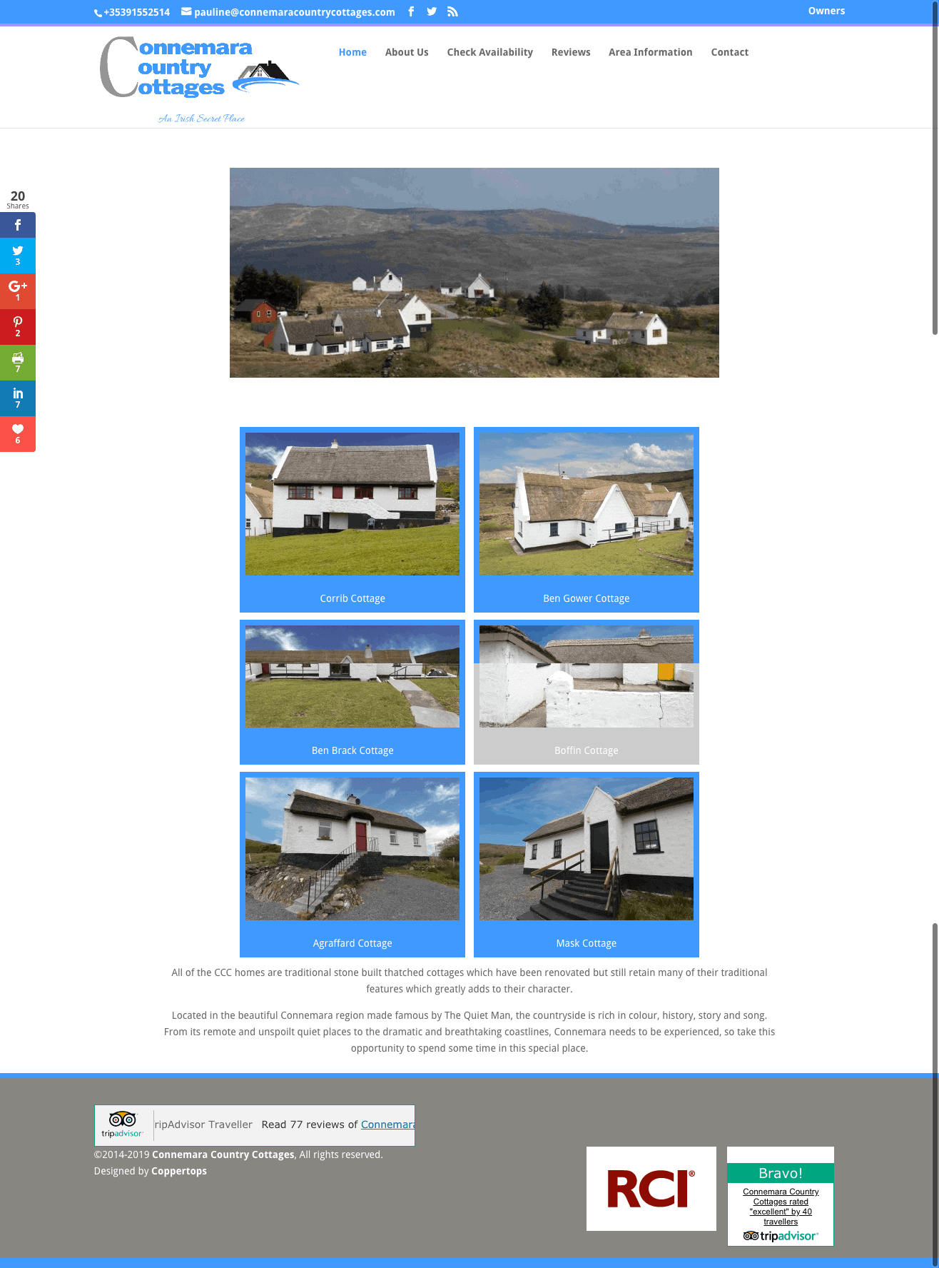 Connemara Country Cottages Web Design