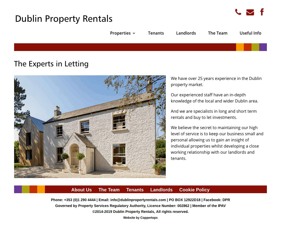 Dublin Property Rentals web design