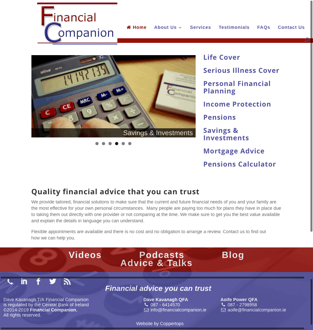Financial Companion Financial Advisor web design