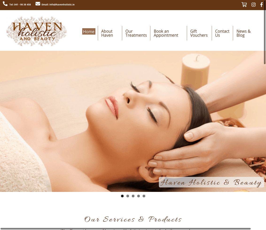 Haven Holistic and Beauty Web Design