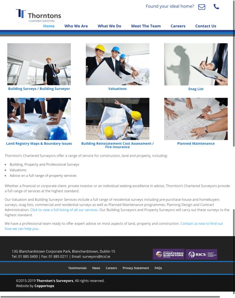Thorntons Chartered Surveyors web design