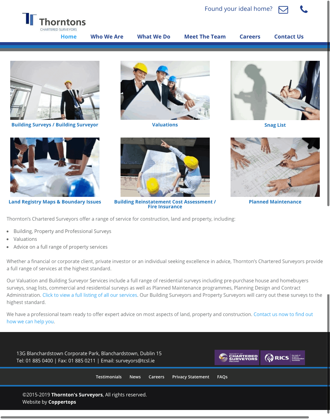 Thorntons Chartered Surveyors web design