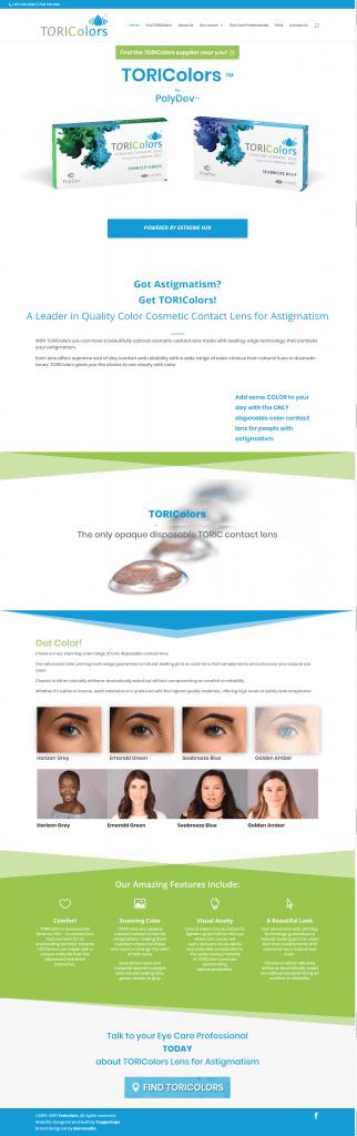 Toricolors Contact Lenses Web Design