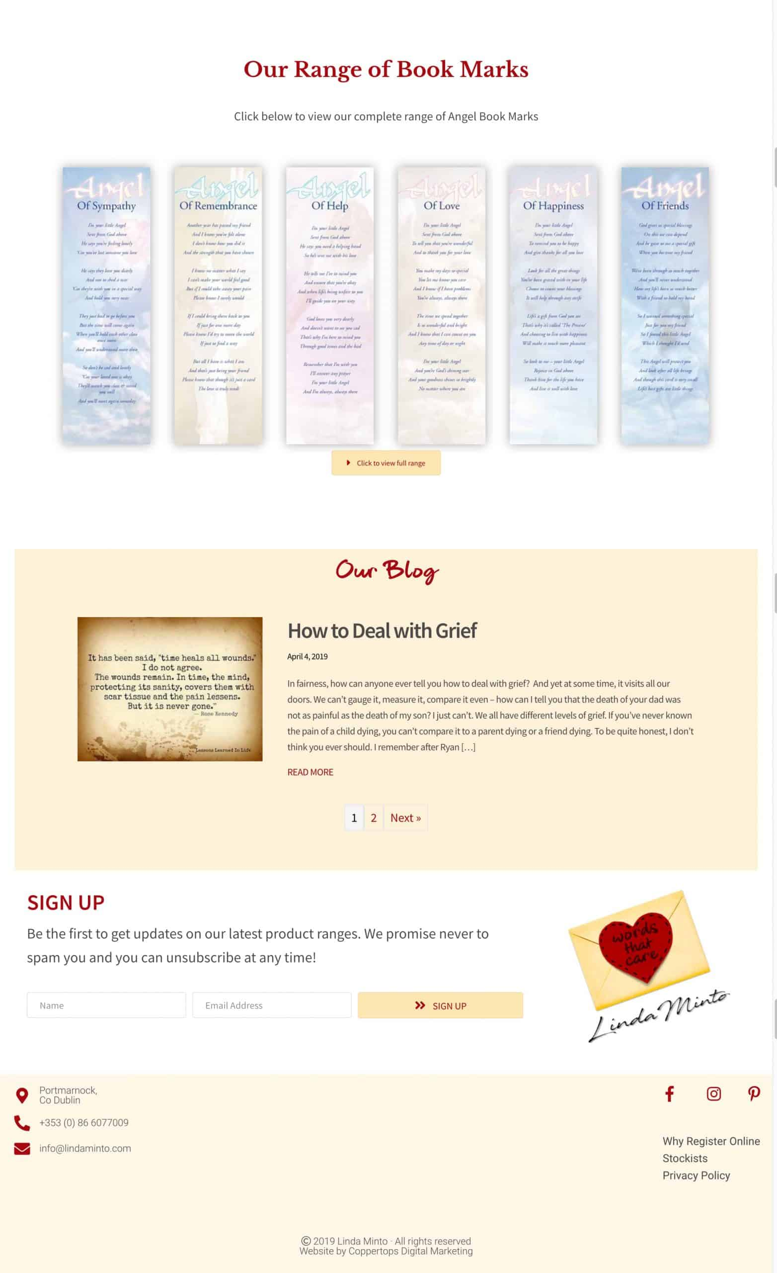 Linda Minto Cards web design