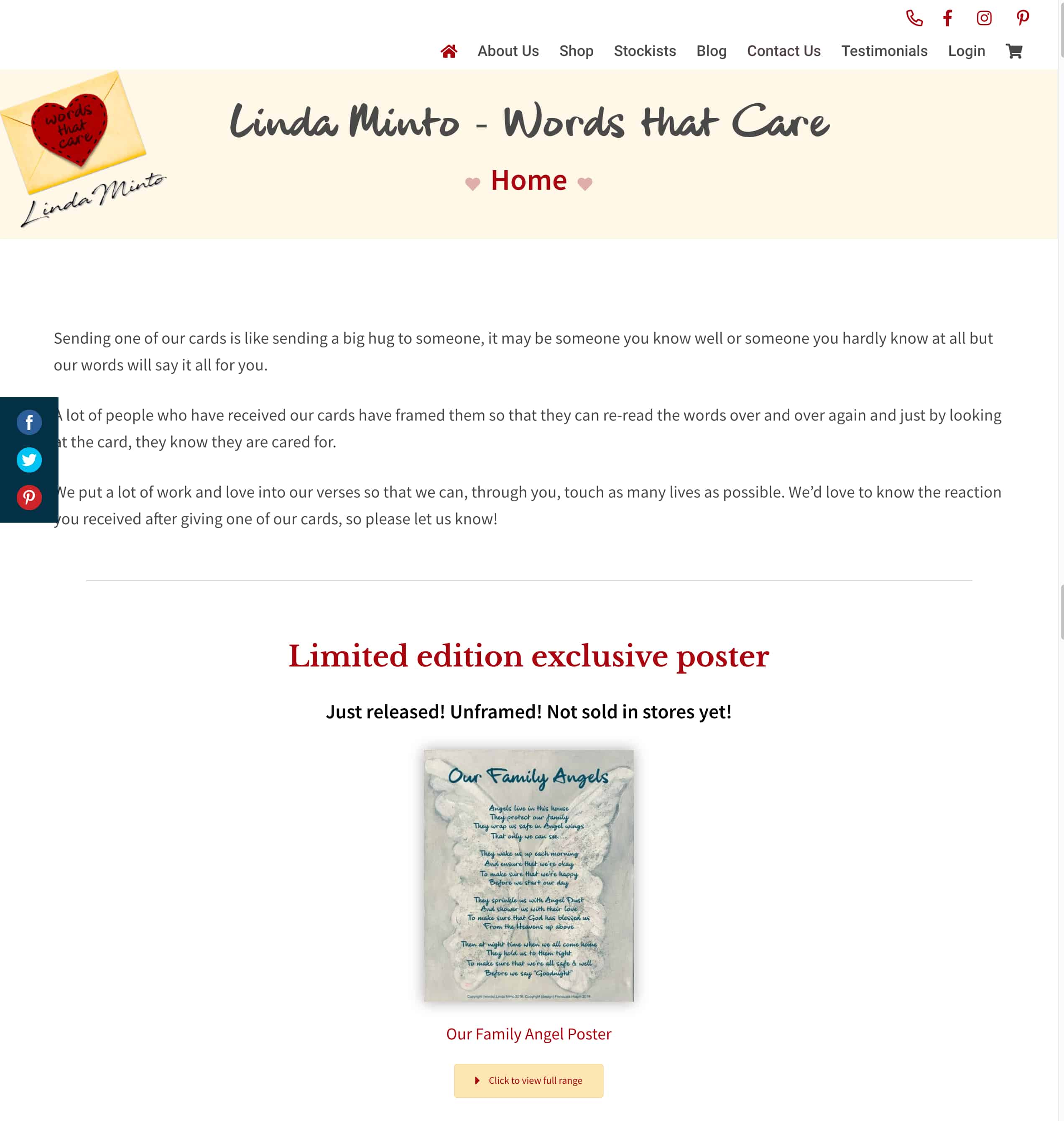Linda Minto Cards web design